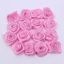 100pcs Rose Flower Satin Ribbon Pink Hair Bows Wedding Hairband Sewing Craft DIY