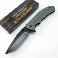SPRING-ASSIST FOLDING POCKET KNIFE Tac-Force Gray Tan G10 Black Blade Tacitcal