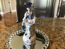 Vintage Blue And White Colonial Woman Gathering Roses
