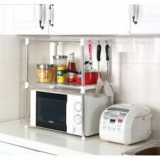 Double Stainless Steel Microwave Oven Rack Multi-function Kitchen Shelve Storage