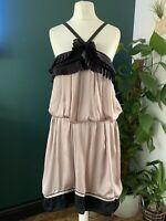 Reiss Nude Silk Dress Black ruffle detail Size 8 Belted Smart party summer