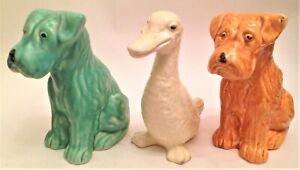 X2 Vintage (SYLVAC STYLE) Ceramic Scottie Dog Scottish Terrier 15CM + DUCK