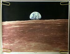 Original Vintage Poster Earthrise view of earth moon 1960s NASA outer space