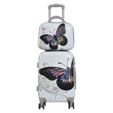 Maleta de cabina + neceser de 4 ruedas dobles 360º fantasia mariposa blanca