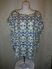 Short Sleeve Boat Neck cotton Blouse size XL Chaps Multi Olive Green Blue NWT
