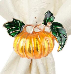 Fennco Styles Harvest Pumpkin Cloisonné Brass Napkin Holders, Set of 4
