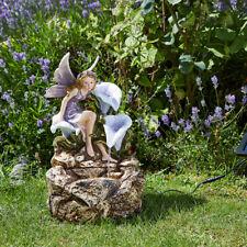 Solar Power Outdoor Liliana Cascade Water Fountain Feature | Garden Fairy