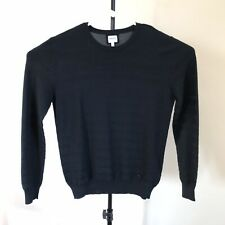 ARMANI COLLEZIONI Mens Small Black Striped Pullover Silk Blend Sweater
