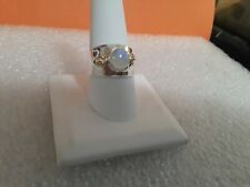 Sterling Silver 925 w/14 Kt Gold Accents Moonstone Ring