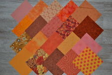 Lot de 20 coupons de tissu patchwork peche-orange