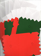 10 X CHRISTMAS CRACKER CARDS AND ENVELOPES RED & GREEN FREE FIRST CLASS POST