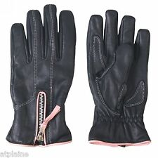 Gants moto cuir doublé PINK PIPING Taille L