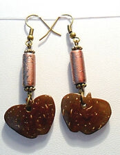 Dangle earrings - Coconut shell apple shape, glass bead