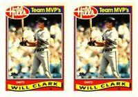 (2) 1989 Topps Hills Team MVP's Baseball #7 Will Clark Card Lot Giants