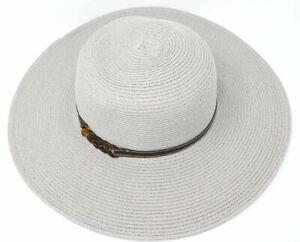 C.C Exclusives Women Adjustable Beach Bead Midsize Brim Straw Floppy Hat SPF50