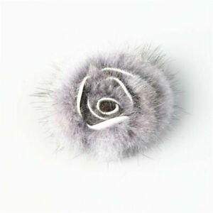 1pc Mink Fur Rose Flower Fluffy DIY Women Shoe Hat Decor Bridal Accessories 6CM