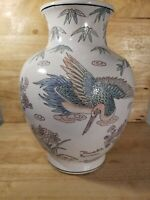 "Vintage Enameled Hand Painted WBI Birds And Flowers Vase 12"""