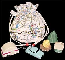 MIDWEST road MAP bag & WOODEN camping campsite figures SET educational toy NEW