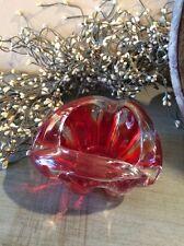 Vintage Murano Red Italian Art Glass Ashtray Collectible Decor Gorgeous