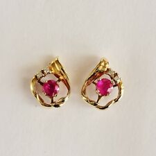 NATURAL RUBY EARRINGS GENUINE DIAMONDS REAL 9K 375 GOLD STUDS GIFT BOXED NEW