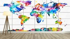 WORLD MAP CARTE DU MONDE STYLE WATERCOLOR XL Poster  Deco Salon 252cmX150cm