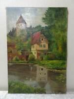 Quadro a Olio Dipinto Autografato C. Wehr - Vintage - Castello/Stagno/Casa Legno