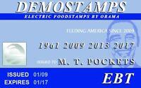 demostamps card - plastic ID card Drivers License - for Barack Obama fans