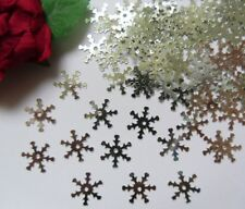 Lots 200pcs-10MM Silver Snowflakes with a hole Sequins-Christmas/Appliques-Q006