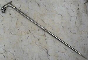 Vintage Mughal Ottoman Islamic Silver Koftgari Damascened walking Folding stick