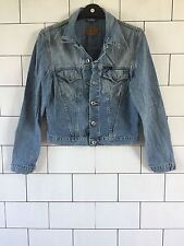 WOMENS VINTAGE RETRO STONEWASH PEPE JEANS CROPPED BIKER TRUCKER DENIM JACKET #19