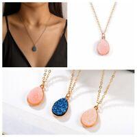 Women Boho Teardrop Pendant Long Chain Necklace Metal Water Drop Fashion Jewelry