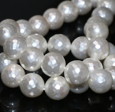 Glittering White Shell Pearl 8mm Faceted Round Loose Beads 15inch