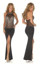 New black rhinestone halter long evening cocktail pole dance dress size UK 10-12