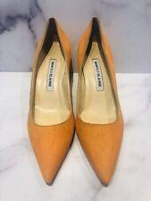 Manolo Blahnik Orange Suede Kitten Heels Shoes