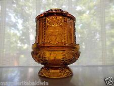 Indiana Glass Amber Stars & Bars Panels Fairy Glo Lamp