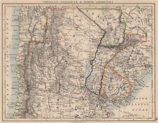Uruguay Paraguay Argentina. River Plate Estados del norte Chile. Johnston 1895 Mapa