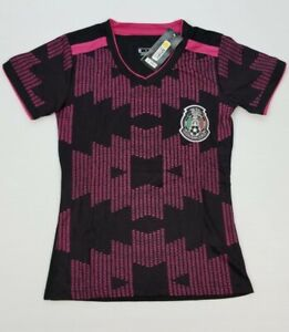 Women's Mexico Soccer Jersey Black/Pink color