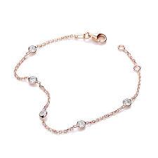 J-Jaz plaqué or Rose Zircone cinq pierre Argent Sterling Bracelet Femmes