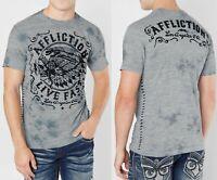 "AFFLICTION Mens XL /""BIRDS OF PREY/"" Medieval Script Skeleton T Shirt New UFC Tee"