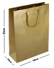 5 GOLD MATT LAMINATED PARTY GIFT BAGS ~ LUXURY BIRTHDAY PRESENT MEDIUM BAG