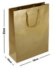 5 GOLD MATT LAMINATED PARTY GIFT BAGS ~ LUXURY BIRTHDAY PRESENT MEDIUM BAG