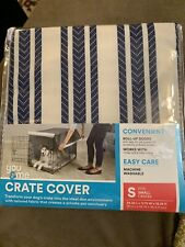 YOU AND ME Dog CRATE COVER BRAND NEW! Sz Small White With Navy Stripes