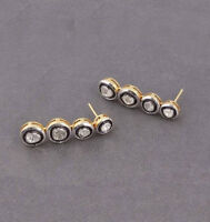 Natural Diamond Polki Earrings 18k Gold 925 Sterling Silver Victorian Jewelry