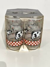 Vintage New In Box Libbey Glasses 4 Pc Set Country Cow Farm House Tumbler Tall