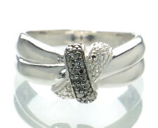 Solid 925 Sterling Silver Two-tone Diamond Accent Band Ring Size-7 '