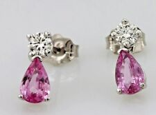 14k white gold 10mm dangle stud earrings round diamond pink sapphire pear shapes