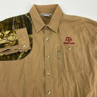 Columbia Texas A&M Button Up Shirt Men's Large Long Sleeve Tan Camouflage Cotton