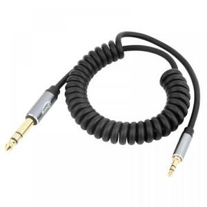 3.5mm AUX Male TRS to 6.35mm Male TS Audio Stereo HiFi Coiled Cable 1.8m