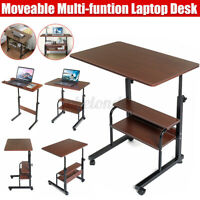 Laptop Desk Adjustable Height Mobile  Wooden Stand Computer Bedside Bed Table
