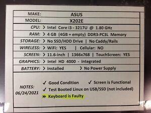 Asus X202E *Parts/Repair* i3/4GB/BATT - No OS/HDD/CHRG